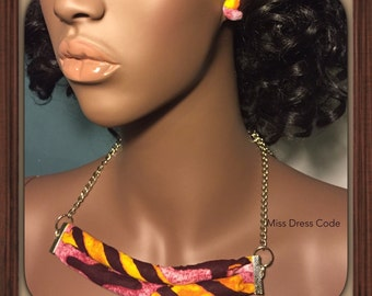 African Print Necklace with Button Earrings