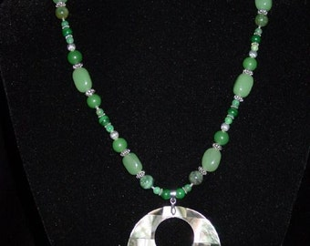 "Abalone and Green Aventurine 18"" necklace"
