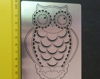 Stainless Steel stencil Oblong Owl Bird Emboss Medium Size