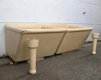 vintage,yellow ware,ceramic,sink,industrial mop,laundry,sink