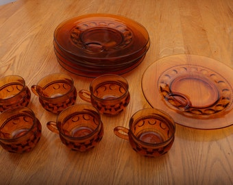Vintage Indiana Glass Amber Kings Crown Thumbprint Snack Set 12 Piece Orig Box