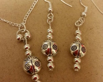 Ladybird Earrings and Necklace set