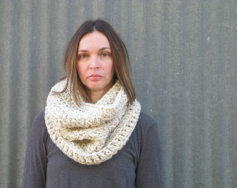 Chunky Crochet Cowl Scarf | The Cardiff | Wheat