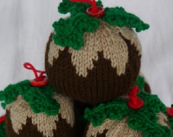 Handmade knitted Christmas pudding decoration