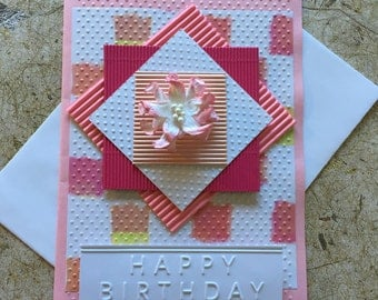 Handmade Pretty in Pink Birthday card