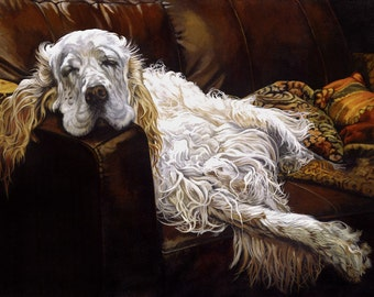 Chaucer, Reclining - Ltd Ed. Giclée Art Print on Canvas by Jane Nicol