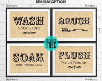 Washroom Burlap Print, Rustic Wall Decor, Bathroom Decor, Sign, Home Decor, Wall Art Print, Home Ware, Housewarming Gift, SD53-57