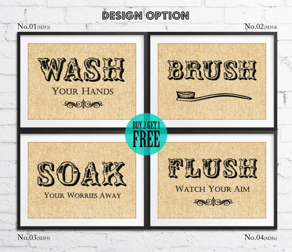 Washroom Burlap Print Rustic Wall Decor Bathroom Decor