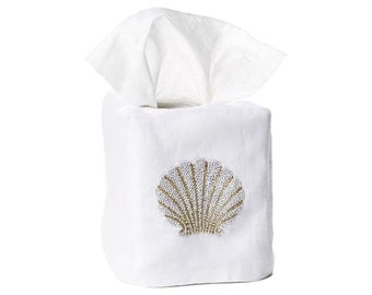 Shell Italian Linen Tissue Box Cover Hand Embroidered