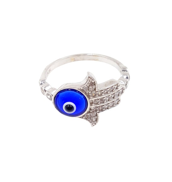 lucky evil eye sterling silver hamsa ring