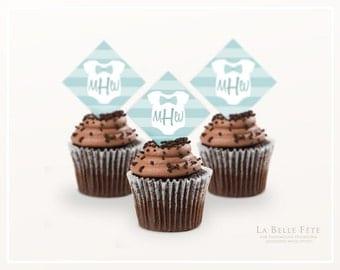 MONOGRAM BABY ONESIE Cupcake Toppers printable