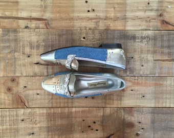 Womens Penny Loafers / Vintage Blue Jean Flats / Womens Loafers / Metallic Shoe Flats / Slip Ons / Gold Silver Shoes
