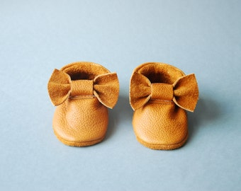 "Moccasins/Moccs/Slippers/Babyshoes ""Camel"" made from vegetable tanned eco friendly leather"