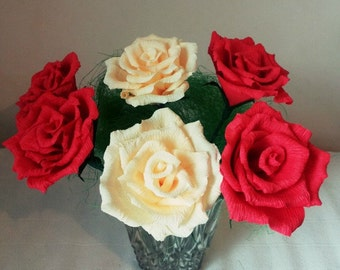 6 Crepe paper roses, Home decoration, Gift for her,Wedding Decor, Handmade flowers, Bridal bouquet