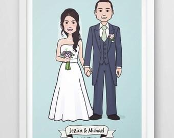 Printable file - Custom wedding present, bride and groom print, Unique wedding gift, anniversary gift