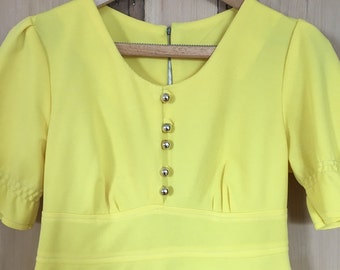 Vintage 1960s Yellow Mod Polyester Mini Dress 1970s Tie Back 10