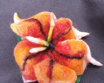 Felted Flower Brooch -Amber