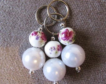 Pearl and Blossom 12mm Stitch Markers (Set of 3)