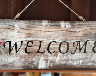 Country barn wood welcome sign
