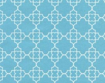 Quatrefoil  Fabric -  Aqua Fabric - Timeless Treasures Fabric - Fat Quarter Cut - Cotton Fabric