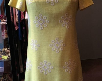 Vintage 1960s Yellow and White Midi Dress Butterfly Collar