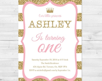 First Birthday Invitation Pink And Gold First Birthday - First birthday invitations girl pink and gold