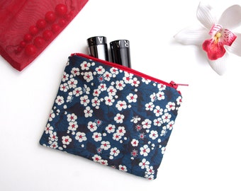 Make-up purse style blue Japanese