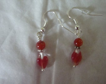 carnelion and glass bead dangle earrings