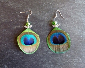 Earrings peacock feathers - Angel - Angel - glass - Feather earring peacoch beads