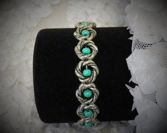 Silver Beaded Frame Bracelet in Creme' De Menthe