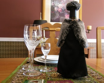 Gray Faux Fur Stole and Hat with Black Satin Evening Gown, and Faux Pearl Necklace Wine Bottle Decor - Hostess Gift