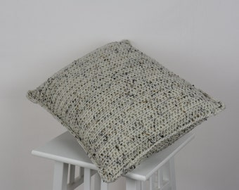 Crochet Pillow Cover Beige Aran Fleck
