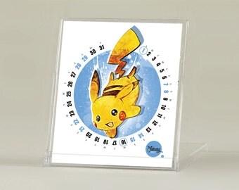 Pikachu, 2017 CD Pokemon Calendar, Pikachu matter of state calendar, Cute calendar, yellow, Desktop calendar, CD calendar, by janovelty