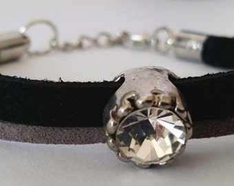 Dainty Diamante Suede Cord Bracelet