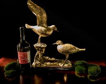 Gorgeous Bird Sculpture Brass Large Bronze Bird Figurine Statue