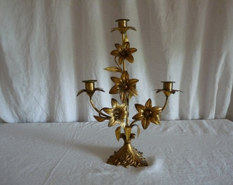 Antique French 1880s Church candelabra candlestick gilt tole