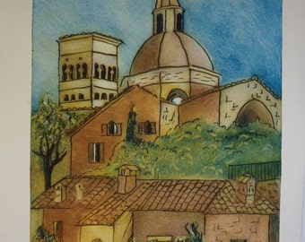 Assisi Print Hand Pulled Monoprint on Paper Assisi Italy by Nina Muys