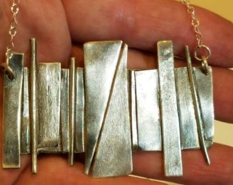 Large abstract sterling silver pendant