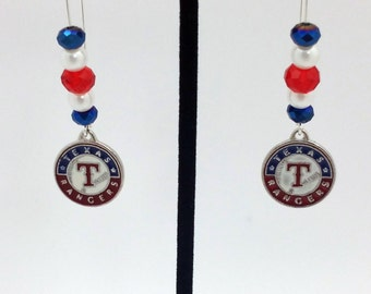 1 Pair - Texas Rangers Theme Dangle Beaded Earrings Brass Ear wire Kidney Style EAR0073