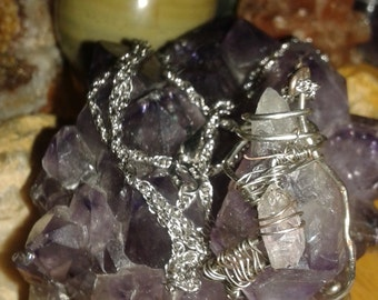 Sterling silver chain  with amethyst pendant