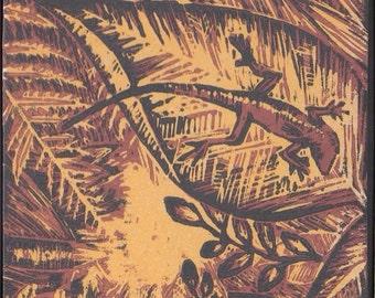 Woodblock print of anole lizard
