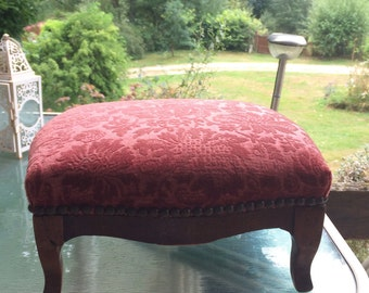 French foot stool vintage wooden Foot Rest. Red cushion top. Original pins.