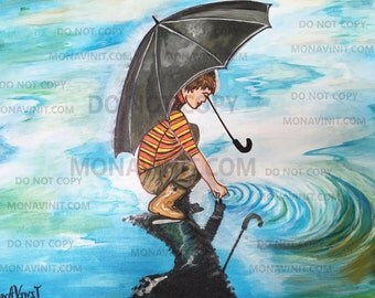 Handmade Canvas Acrylic Painting of Boy playing in the rain - holding umbrella