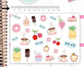Kawaii Food Stickers Cute Food Stickers Food Stickers Planner Stickers Erin Condren Functional Stickers Decorative Stickers NR736