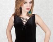 Lace Up Neck Black Velvet Camisole Top / Vest