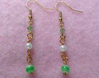 Gold Green & White Long Earrings.
