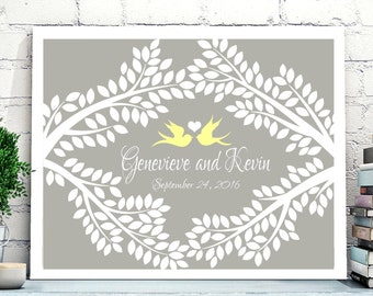 Wedding Guest book Alternative canvas, Love Birds Wedding Guest book, Unique Wedding Guest book,Leaves to sign guest book, Tree Guest book