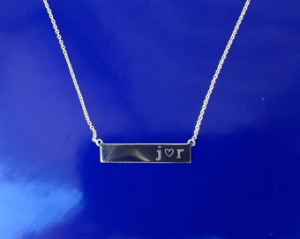 Bar Necklace - Couples Initials and Heart - Sterling Silver