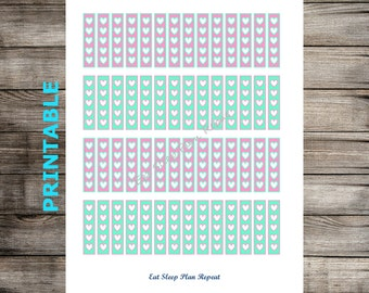 PRINTABLE for Erin Condren -  Pink & Mint Heart Shape Checklist Planner Stickers  for EC Life Planner Vertical To Do Tasks Spring