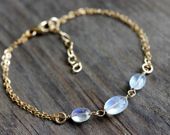 Delicate Rainbow Moonstone Bracelet, Gold Filled Jewelry, June Birthstone